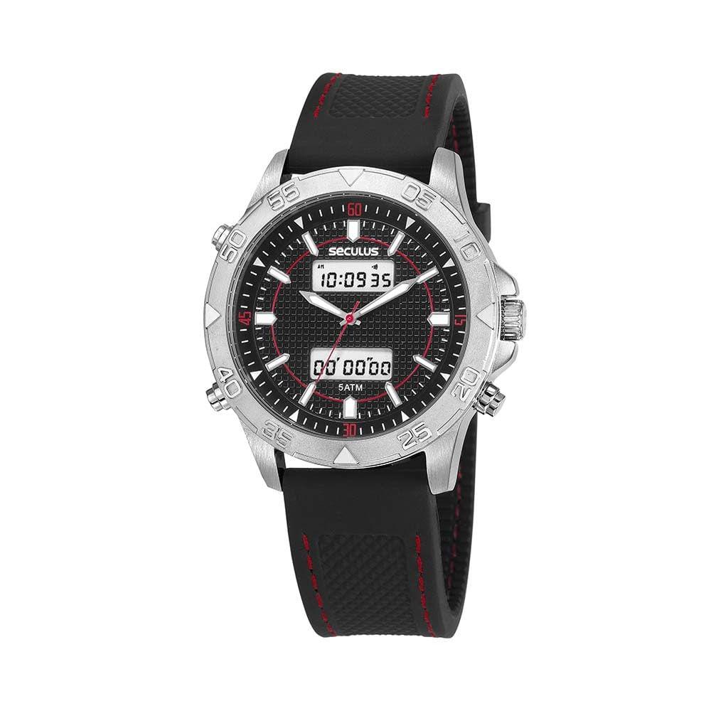 326f4a4c0da Relógio Action Silicone com Detalhe Vermelho Preto - seculusdigital