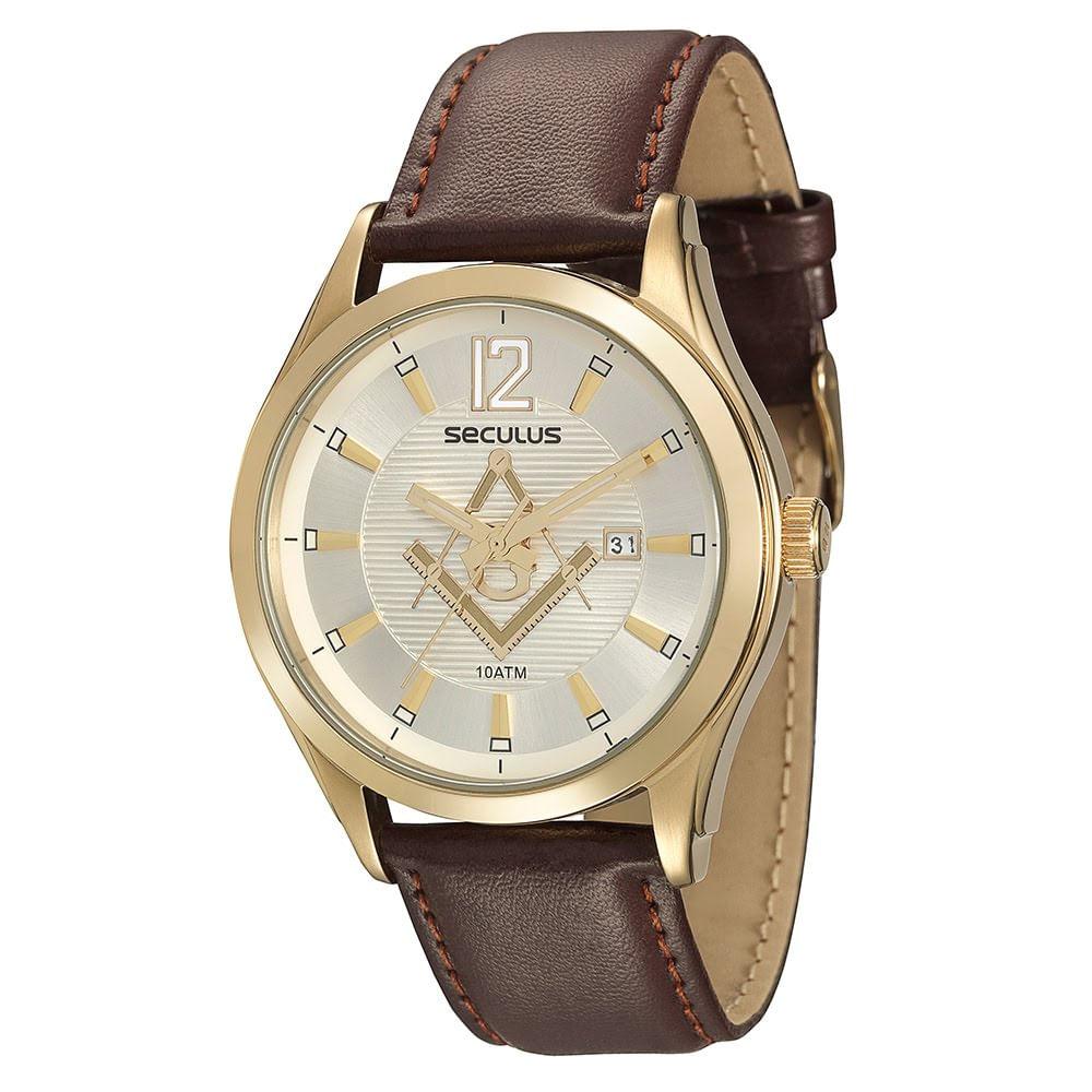 e2e7eff51d4 Relógio Clássico Maçonaria Couro Marrom. Cód.  20263GPSVDC2. 20263GPSVDC2