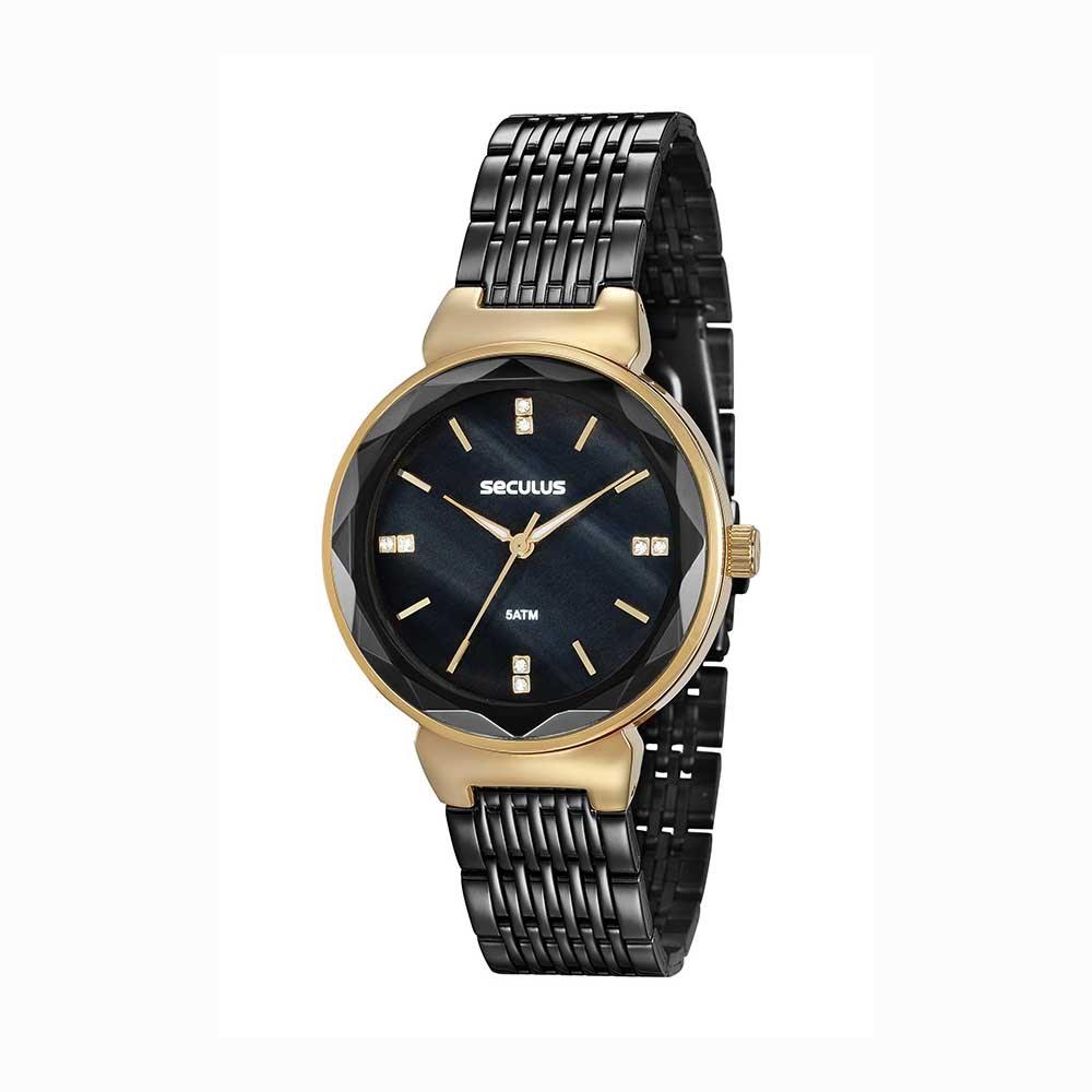 3e0e3fb841c Relógio Glamour Vidro Facetado Aço Preto - seculusdigital