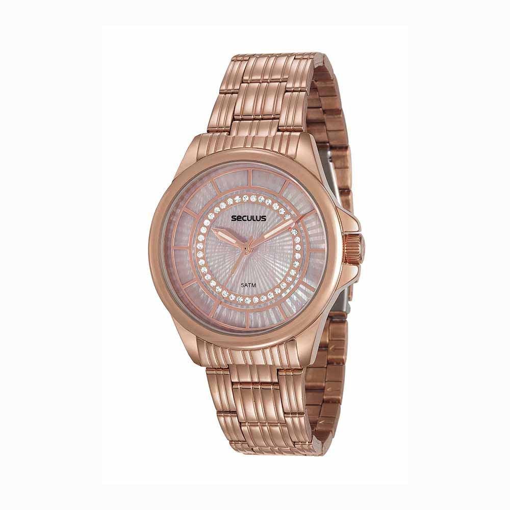 8a8b0adb886 Relógio Glamour Visor Texturizado Aço Rosé - seculusdigital