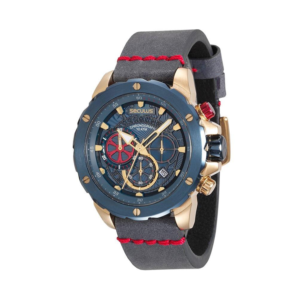 b8742053c3b Seculus  Relogio masculino  Relógio Cronógrafo Couro Azul. Relógio  Cronógrafo Couro Azul. Cód.  13017GPSVLC3. 13017GPSVLC3