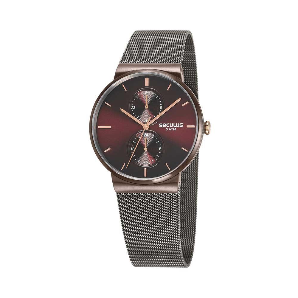 c570fcbefe7 Relógio Multifunção Malha de Aço Preto - seculusdigital