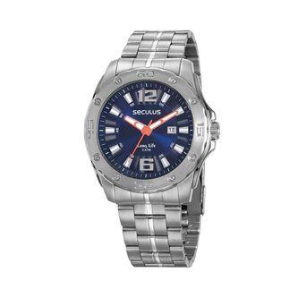 ec667923ebb Relógio Calendário Texturizado Aço Prata