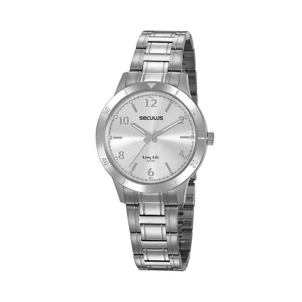 Relógio Aço Cristais Prata 20887