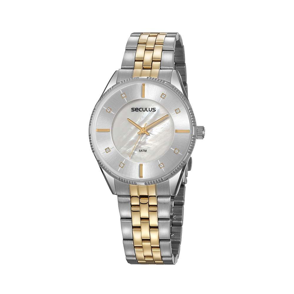Relógio Madrepérola Prata e Dourado