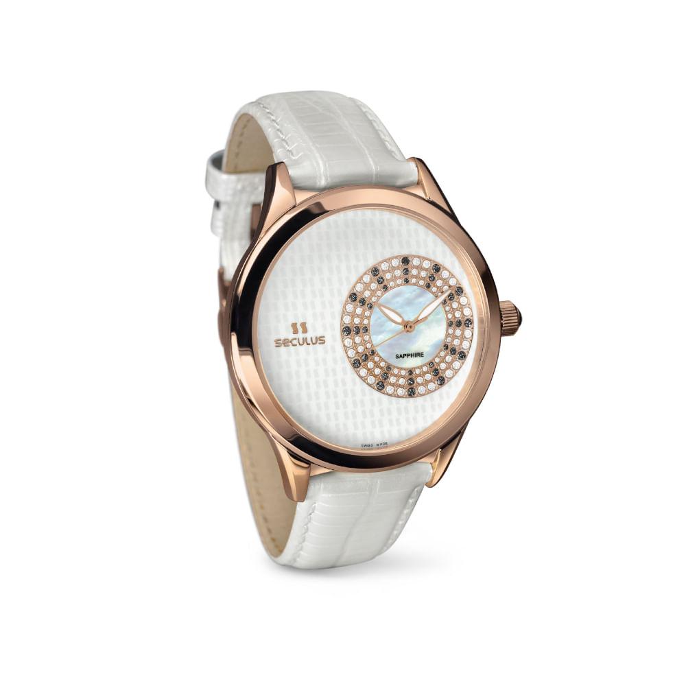 Relógio Suíço Madrepérola Couro Branco