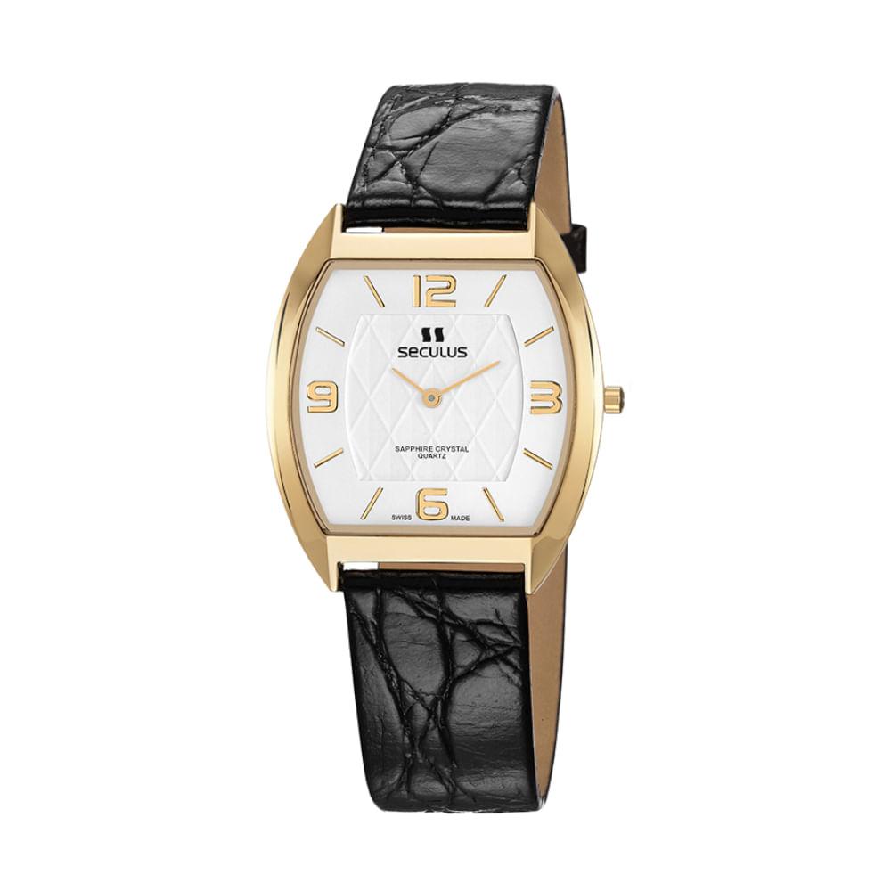 Relógio Suíço Couro Texturizado Preto