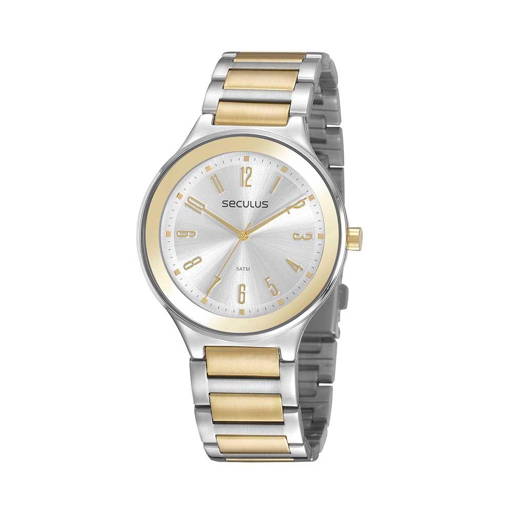 Relógio Casual Prata e Dourado