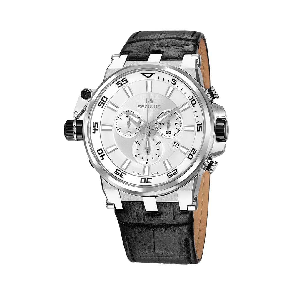Relógio Suíço Cronógrafo Clássico Preto