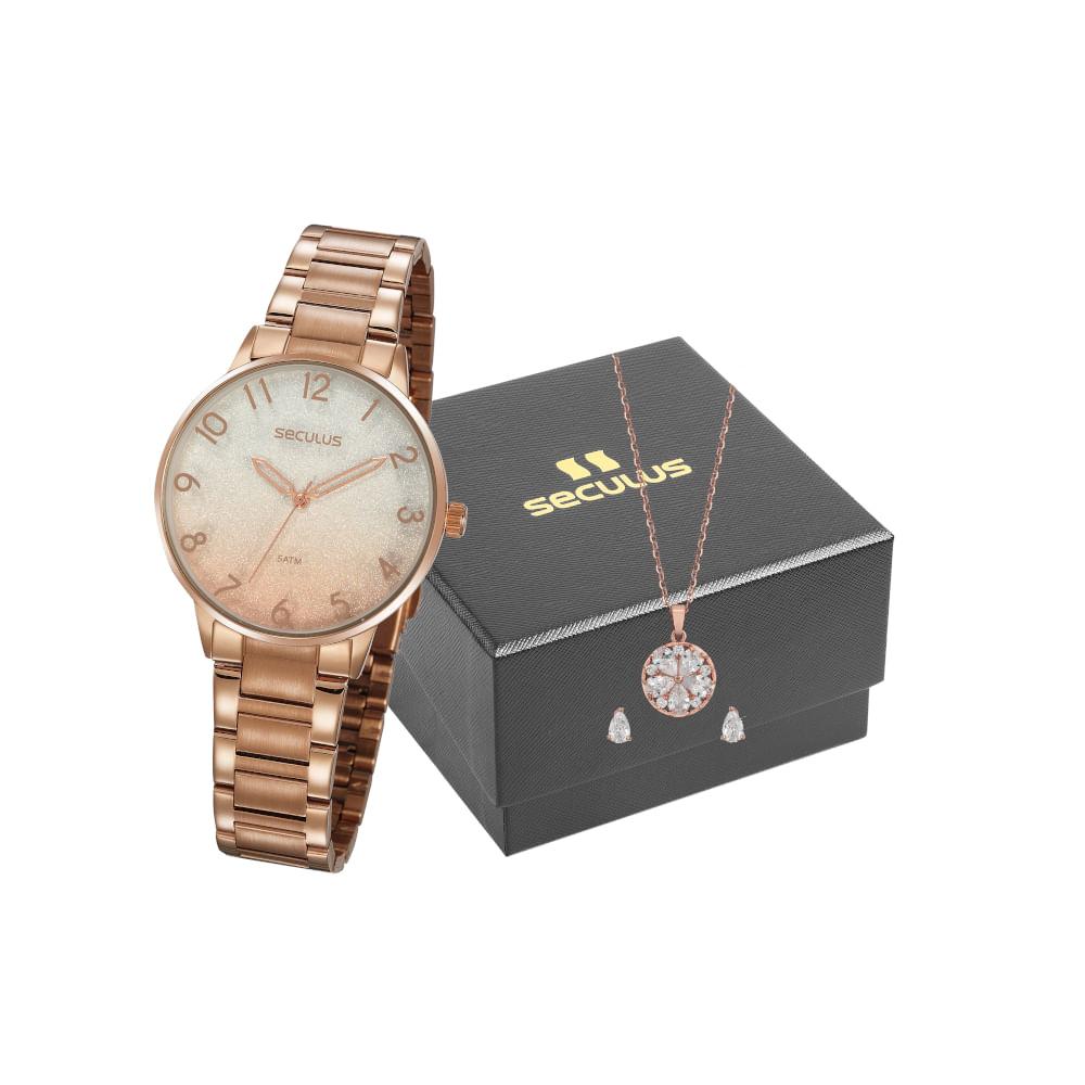Kit Relógio Degradê com Semi Joias Rosé