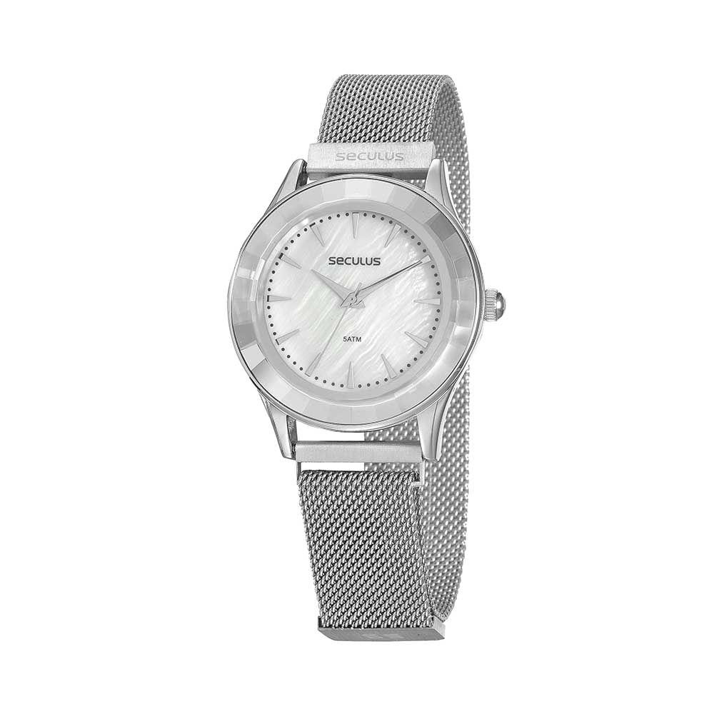 Relógio Malha de Aço Prata