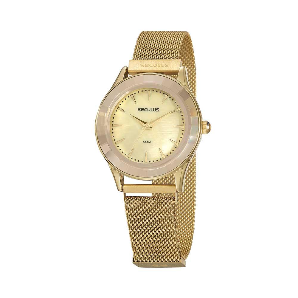 Relógio Malha de Aço Dourado