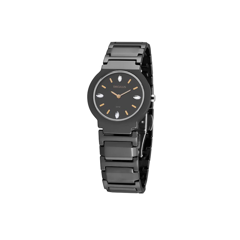 Relógio Cerâmica Cristal Swarovski Preto