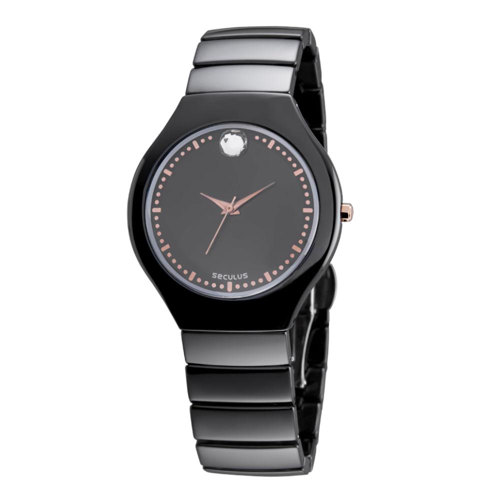 Relógio Cristal Swarovski Cerâmica Preto