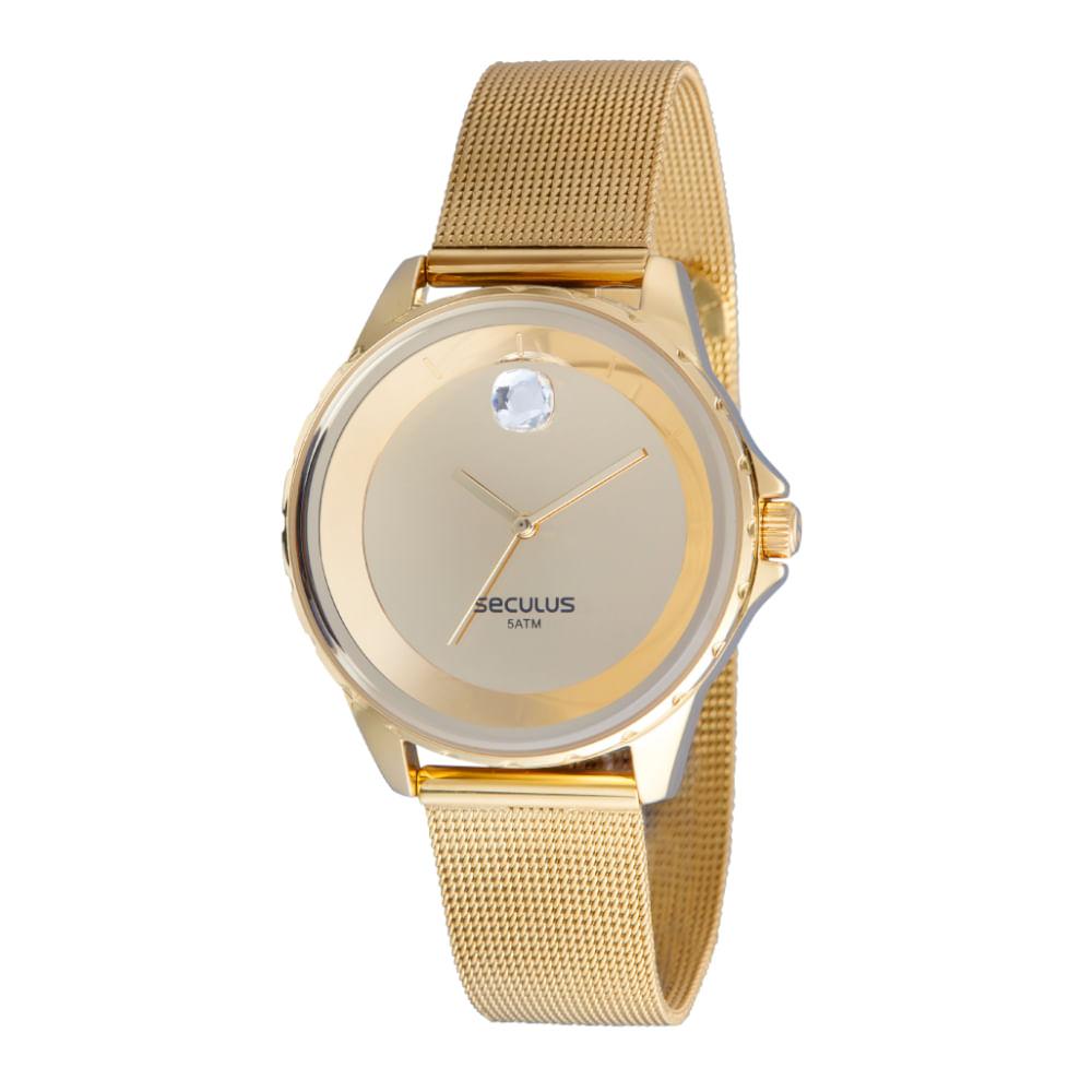 Relógio Malha de Aço Cristal Swarovski  Dourado