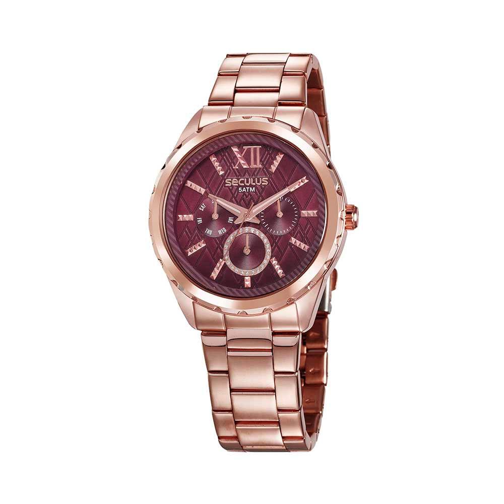 Relógio Multifunção Visor Texturizado Rosé