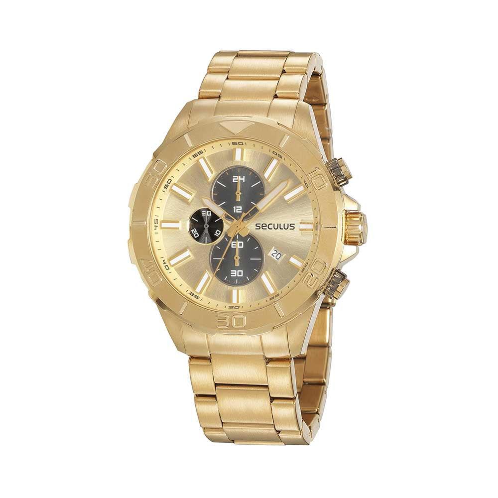 Relógio Cronógrafo Casual Dourado