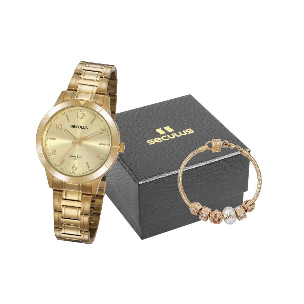 Kit Relógio Casual Aço com Pulseira Dourado