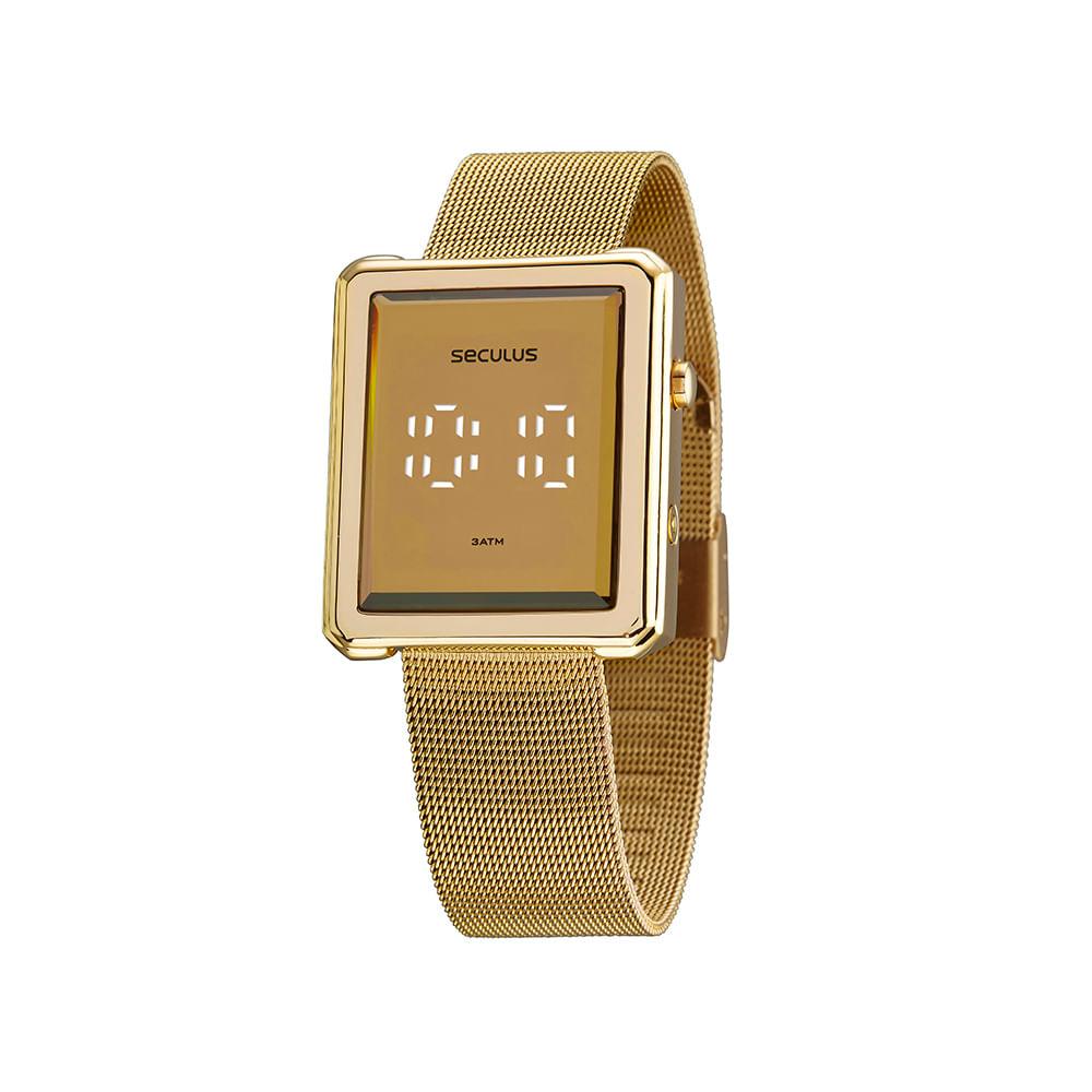 Relógio Quadrado Led Dourado