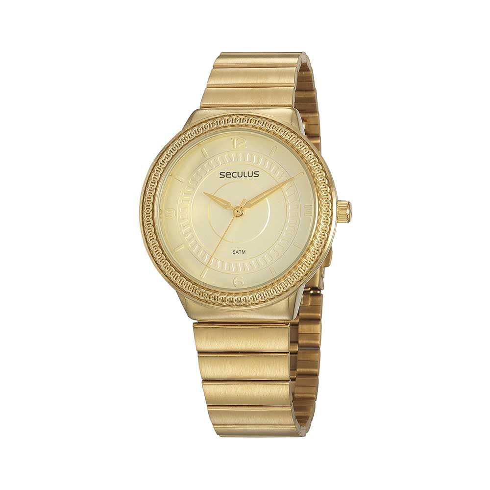 Relógio Casual Textura Dourado