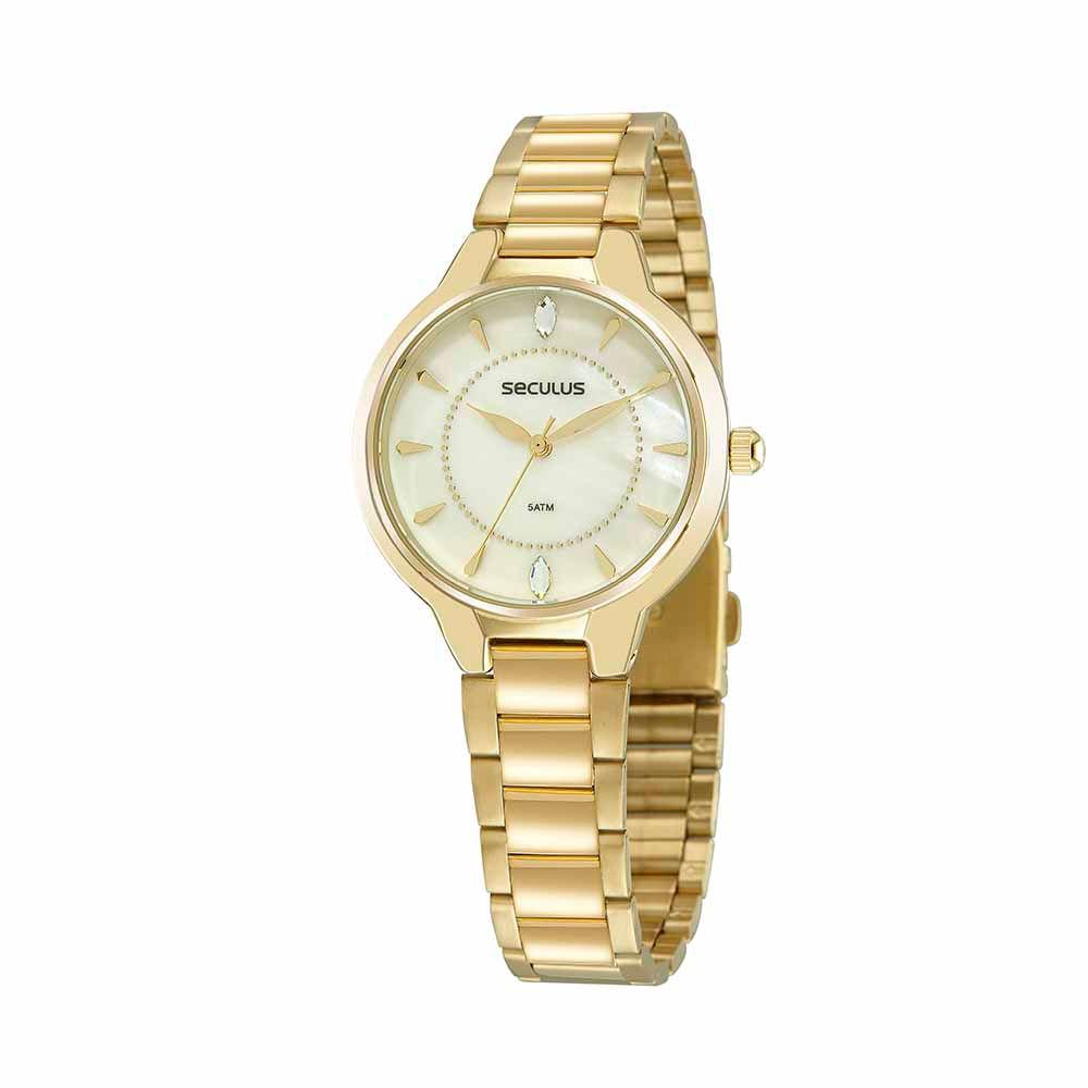 Relógio Madrepérola Cristal Swarovski Dourado
