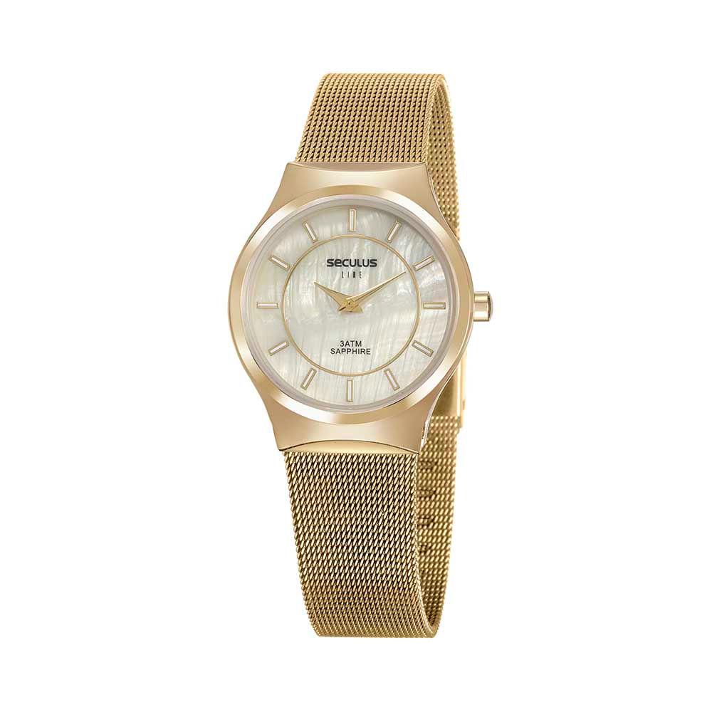 Relógio Slim Malha de Aço Dourado
