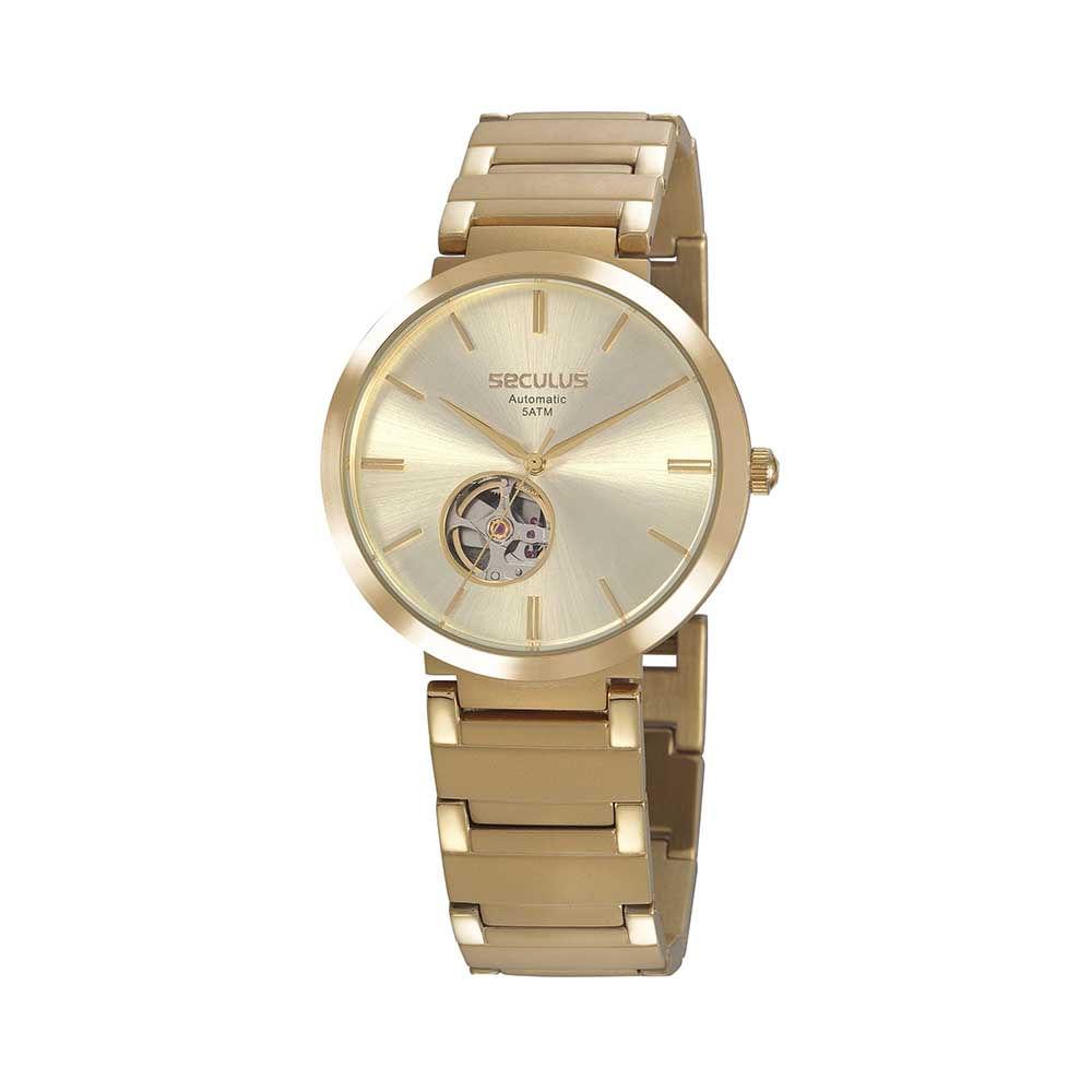 Relógio Automático Maquinismo Aparente Aço Dourado