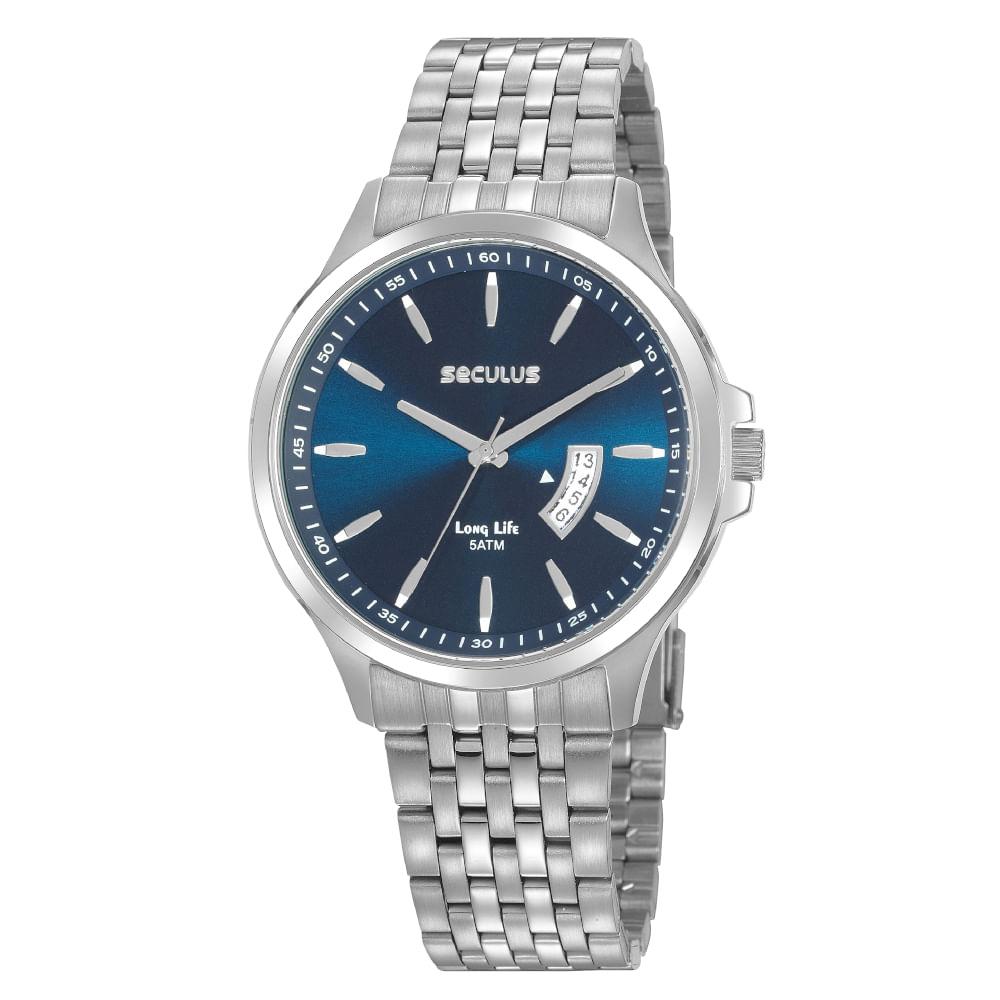 Relógio Casual Mostrador Azul Aço Prata