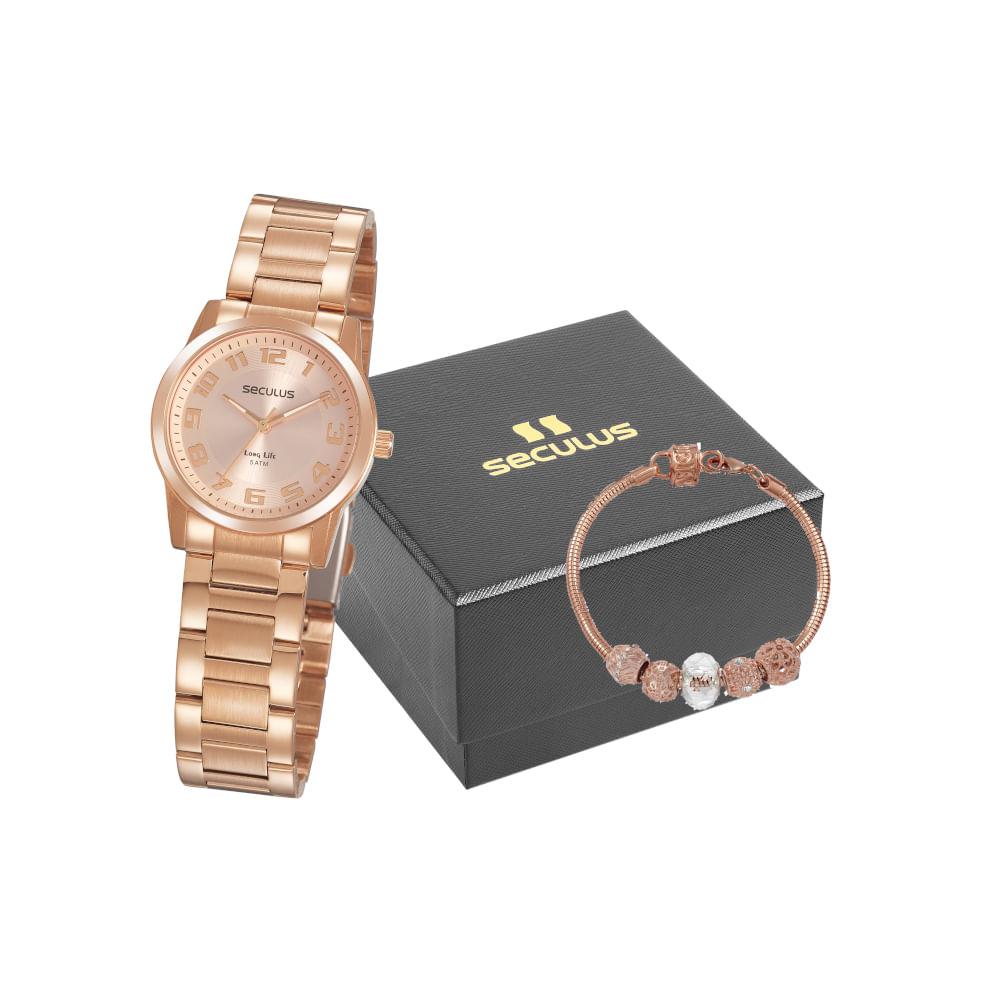 Kit Relógio Aço Rosé com Pulseira