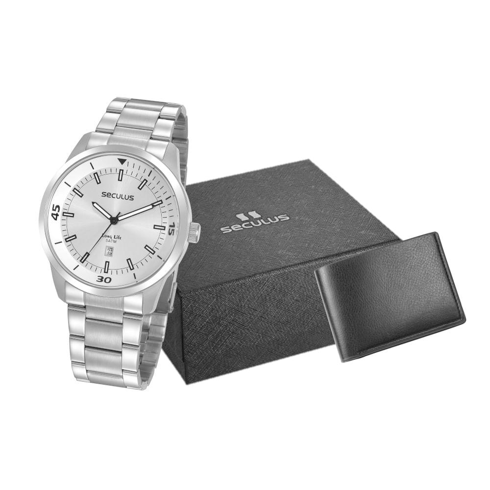 Kit Relógio Casual Aço Prata com Carteira