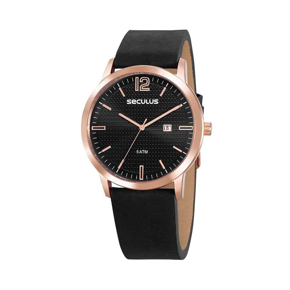 Relógio Vintage Visor Texturizado Couro Preto